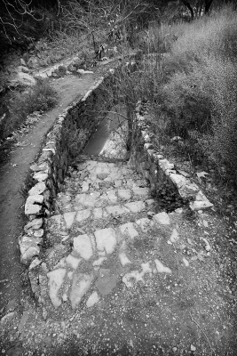 Stone steps lead to a pool of mineral water